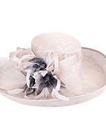 cheap -Flower Hyperbole Flax Fascinators with Feather / Bowknot / Floral 1 Piece Special Occasion / Party / Evening Headpiece