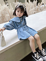 cheap -children's skirts 2021 spring and autumn girls denim skirt big ruffled belt dress t39