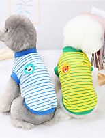 cheap -Dog Cat Shirt / T-Shirt Vest Striped Animal Basic Adorable Cute Dailywear Casual / Daily Dog Clothes Puppy Clothes Dog Outfits Breathable Yellow Red Dark Blue Costume for Girl and Boy Dog Polyster S