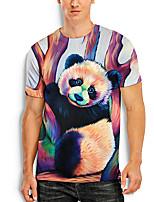 cheap -Men's Tees T shirt 3D Print Graphic Prints Panda Animal Print Short Sleeve Daily Tops Basic Casual Rainbow