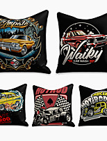 cheap -5 pcs Linen Pillow Cover, Cartoon Square Zipper Polyester Traditional Classic