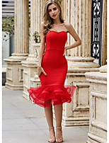 cheap -Sheath / Column Sexy bodycon Homecoming Cocktail Party Dress Strapless Sleeveless Knee Length Spandex with Ruffles 2021