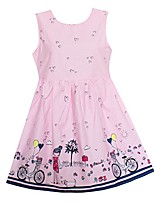 cheap -shybobbi summer girls dress pink bicycle girl print cotton dresses party pageant princess baby kids clothing (4, pink)