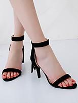 cheap -Women's Sandals Stiletto Heel Round Toe PU Synthetics Tassel Almond Black Gray