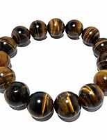 "cheap -satincrystals tigers eye golden bracelet 13mm boutique golden brown shiny round handmade stretch chunky b02 (6.5"")"