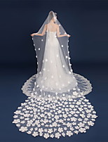 cheap -Two-tier Flower Style / Lace Wedding Veil Chapel Veils with Scattered Bead Floral Motif Style / Solid 118.11 in (300cm) Lace / Tulle / Polyester / Cotton Blend