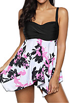 cheap -Women's Tankini Swimwear Breathable Quick Dry Sleeveless 2 Piece - Swimming Surfing Water Sports Floral / Botanical Summer / Plus Size