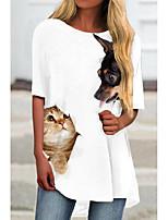 cheap -Women's T Shirt Dress Tee Dress Short Mini Dress White Light gray Half Sleeve Cat Animal Print Spring Summer Round Neck Casual 2021 S M L XL XXL 3XL