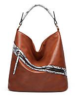 cheap -Women's Bags PU Leather Top Handle Bag Hobo Bag Zipper Solid Color Animal Fur Pattern Daily Office & Career Retro 2021 Handbags Dark Brown Wine Black / White Black