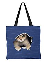 cheap -Unisex Bags Canvas Top Handle Bag Zipper Animal Shopping Daily Handbags Chain Bag Black Grey Black / White Black Blue