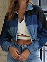 cheap -Women's Striped Fall & Winter Denim Jacket Short Daily Long Sleeve Denim Coat Tops Blue
