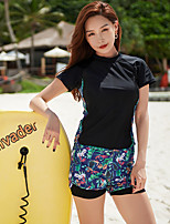 cheap -Women's Rashguard Swimsuit Two Piece Swimsuit Nylon Elastane Swimwear Breathable Short Sleeve 2 Piece - Swimming Surfing Patchwork Solid Colored Summer / Stretchy / Plus Size