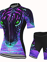 cheap -Women's Short Sleeve Cycling Jersey with Shorts Spandex Purple Leopard Bike Breathable Quick Dry Sports Graphic Mountain Bike MTB Road Bike Cycling Clothing Apparel / Stretchy / Athletic / Athleisure