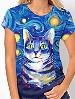 cheap -Women's T shirt Cat Graphic 3D Print Round Neck Tops Basic Basic Top Blue