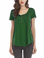 cheap -womens tunic tops casual short sleeve henley swing blouse 4-green-2xl