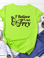 cheap -Women's T shirt Butterfly Letter Print Round Neck Tops 100% Cotton Basic Basic Top White Yellow Blushing Pink