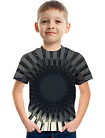 cheap -Kids Boys' Tee Short Sleeve Graphic Children All Seasons Tops Active Black 3-12 Years