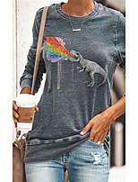 cheap -Women's Pullover Sweatshirt Animal Patchwork Print Daily 3D Print Basic Hoodies Sweatshirts  Blue Green Dark Gray