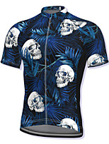 cheap -21Grams Men's Short Sleeve Cycling Jersey Spandex Dark Navy Skull Bike Top Mountain Bike MTB Road Bike Cycling Breathable Quick Dry Sports Clothing Apparel / Athleisure