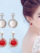 cheap -Women's Stud Earrings Stylish Romantic Sweet Imitation Pearl Earrings Jewelry White / Red For Date Festival 1 Pair