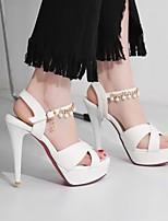 cheap -Women's Sandals Stiletto Heel Peep Toe PU Synthetics Pearl White Black Pink