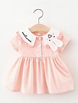 cheap -Toddler Little Girls' Dress Rabbit Striped Print Purple Yellow Blushing Pink Knee-length Short Sleeve Regular Cute Dresses Summer Loose 2-4 Years