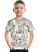 cheap -Kids Boys' Tee Short Sleeve Graphic Animal Children Tops Active White
