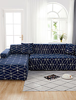 cheap -Geometric Lattice Grid Print Dustproof All-powerful Slipcovers Stretch L Shape Sofa Cover Super Soft Fabric Couch Cover with One Free Pillow Case