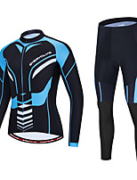 cheap -Men's Long Sleeve Cycling Jersey with Tights Bule / Black Bike Sports Geometic Clothing Apparel / Micro-elastic / Athleisure