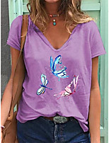 cheap -Women's T shirt Butterfly Print V Neck Tops Cotton Basic Basic Top White Blue Purple