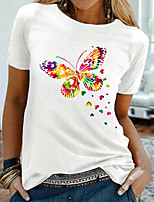 cheap -Women's T shirt Graphic Butterfly Print Round Neck Tops 100% Cotton Basic Basic Top White Black