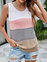 cheap -Women's Knitted Color Block Vest Sleeveless Sweater Cardigans Crew Neck Fall Winter Blue Blushing Pink Wine