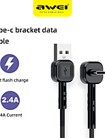 cheap -AWEI USB C Cable 1.0m(3Ft) 2.4A Fast Charging 1/3 Pack 90 Degree Gaming Type C Data Line Nylon Game Data Cable For Samsung S21 S20 S10 A Series Huawei Mate 40 30 Pro P40 Xiaomi Redmi K40 K30 Oneplus 9