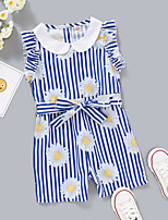 cheap -Kids Toddler Girls' Overall & Jumpsuit Daisy Graphic Print Blue Active 2-8 Years