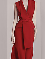 cheap -Sheath / Column Minimalist Sexy Wedding Guest Cocktail Party Dress Shirt Collar Sleeveless Tea Length Spandex with Sash / Ribbon 2021