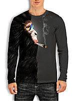 cheap -Men's Tees T shirt 3D Print Graphic Prints Orangutan Animal Print Long Sleeve Daily Tops Basic Casual Black