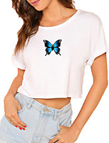 cheap -Women's Crop Tshirt Graphic Butterfly Print Round Neck Tops 100% Cotton Basic Basic Top White