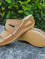 cheap -Women's Slippers & Flip-Flops Wedge Heel Open Toe PU Black Blue Pink