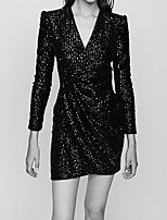 cheap -Sheath / Column Sparkle Sexy Wedding Guest Cocktail Party Dress V Neck Long Sleeve Short / Mini Sequined with Ruched Sequin 2021