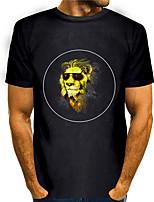 cheap -Men's Tees T shirt 3D Print Graphic Prints Lion Animal Print Short Sleeve Daily Tops Basic Casual Black