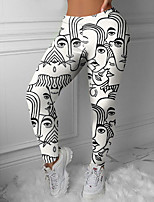 cheap -Women's Colorful Fashion Comfort Weekend Gym Leggings Pants Abstract Graphic Prints Ankle-Length Sporty Elastic Waist Print Black / White
