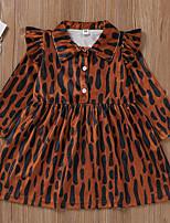 cheap -Kids Toddler Little Girls' Dress Leopard Print Brown Long Sleeve Active Dresses Summer Regular Fit 2-6 Years