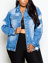 cheap -Women's Letter Basic Spring &  Fall Denim Jacket Regular Daily Long Sleeve Cotton Coat Tops Blue