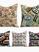 cheap -5 pcs Linen Pillow Cover, Geometric Square Zipper Polyester Traditional Classic