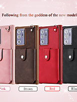 cheap -Phone Case For Samsung Galaxy Back Cover Leather Wallet Card S20 S20 Plus S20 ultra S20 FE 5G Note 20 Ultra S10 S10 + Galaxy S10 E Note 20 Wallet Card Holder Shockproof Solid Color PU Leather TPU