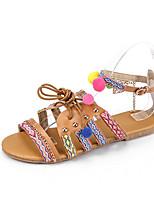 cheap -Women's Sandals Boho Bohemia Beach Roman Shoes Gladiator Sandals Flat Heel Round Toe Flat Sandals Casual Roman Shoes Daily Walking Shoes PU Buckle Tassel Floral Brown