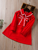 cheap -Kids Little Girls' Dress Solid Colored Patchwork Red Knee-length Long Sleeve Active Dresses Summer Regular Fit 2-8 Years