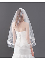 cheap -One-tier Lovers Wedding Veil Fingertip Veils with Splicing 75 cm Lace / Tulle