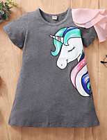 cheap -Kids Toddler Little Girls' Dress Unicorn Animal Print Gray Knee-length Short Sleeve Active Dresses Summer Regular Fit 2-8 Years