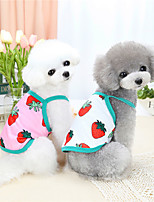 cheap -Dog Cat Shirt / T-Shirt Vest Strawberry Fruit Basic Adorable Cute Dailywear Casual / Daily Dog Clothes Puppy Clothes Dog Outfits Breathable White Pink Costume for Girl and Boy Dog Polyster S M L XL